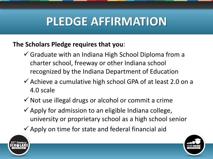 PLEDGE AFFIRMATION