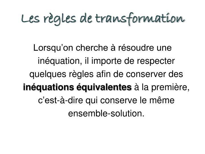 Les règles de transformation