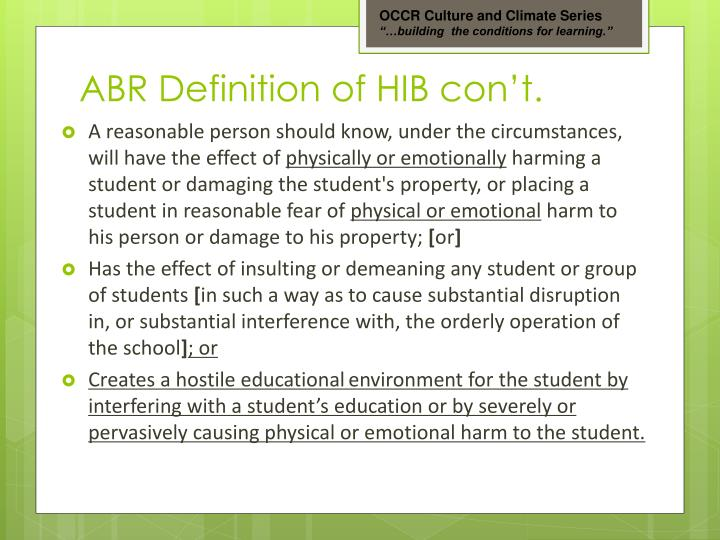 ABR Definition of HIB con