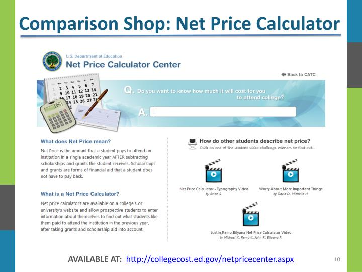 Comparison Shop: Net Price Calculator