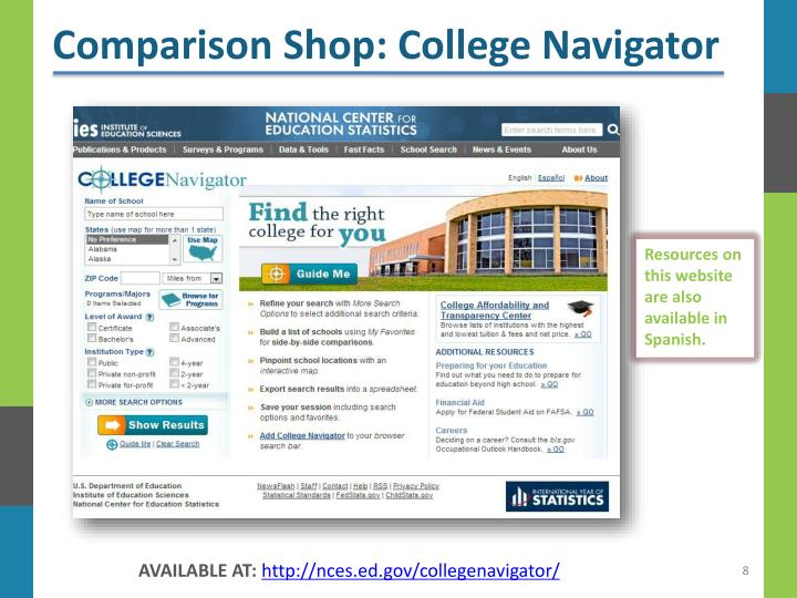 Comparison Shop: College Navigator
