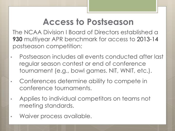 Access to Postseason