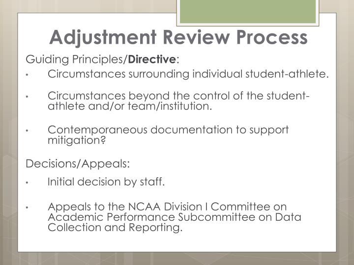 Adjustment Review Process