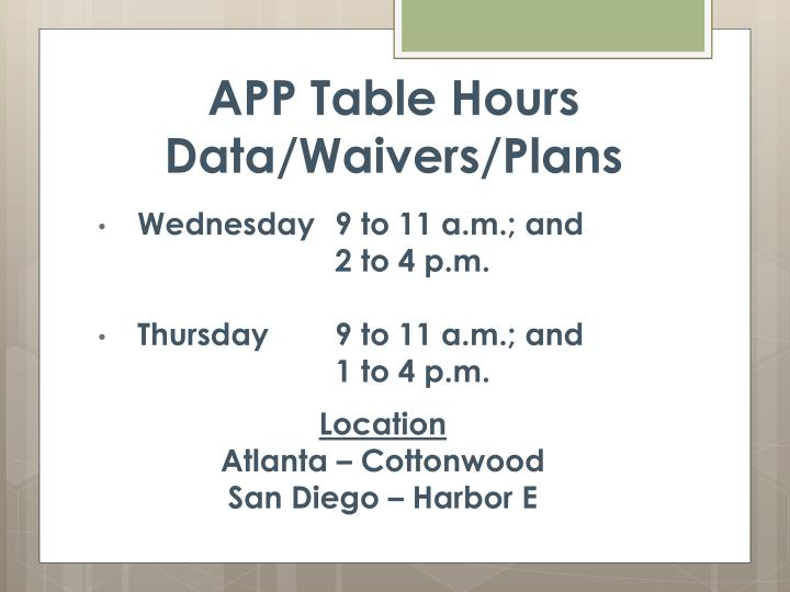 APP Table Hours
