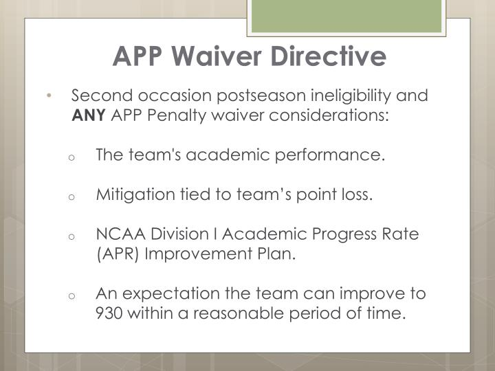 APP Waiver Directive