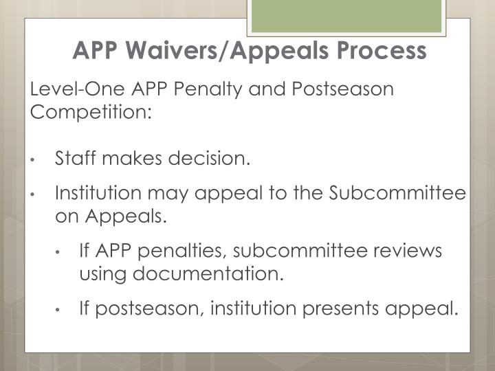 APP Waivers/Appeals Process