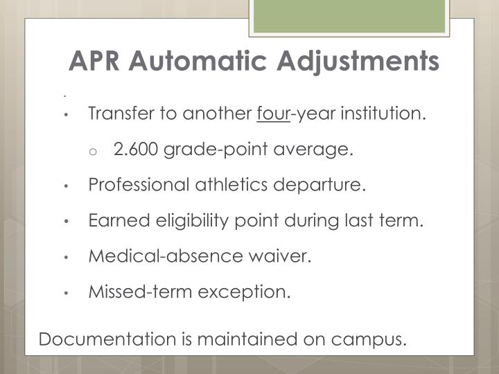 APR Automatic Adjustments