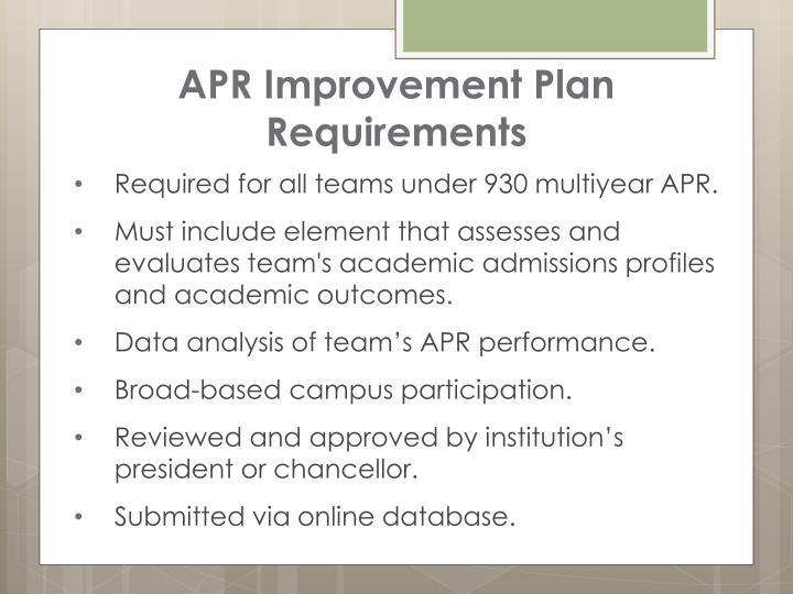 APR Improvement Plan Requirements