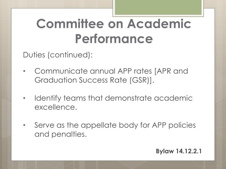 Committee on Academic Performance