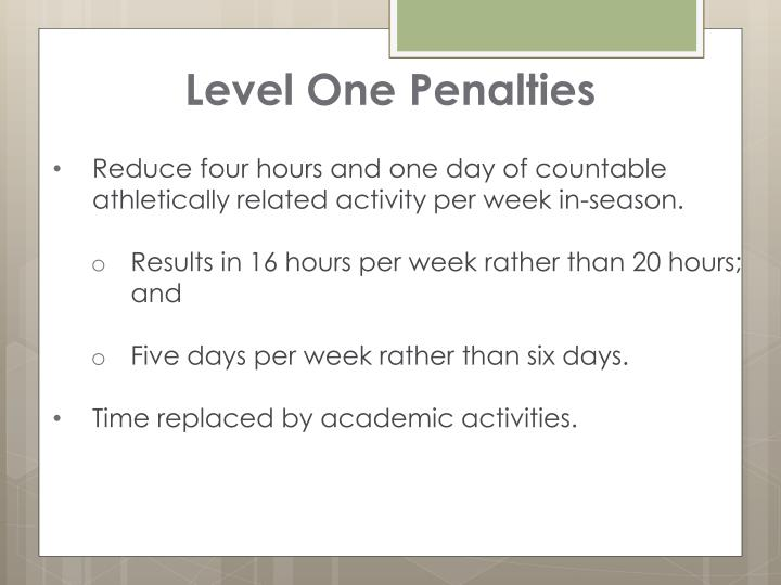 Level One Penalties