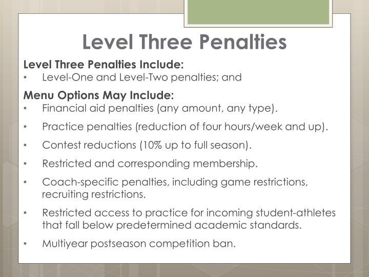 Level Three Penalties