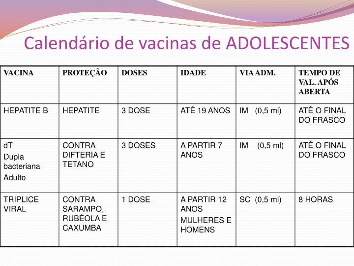 Calendário de vacinas de ADOLESCENTES