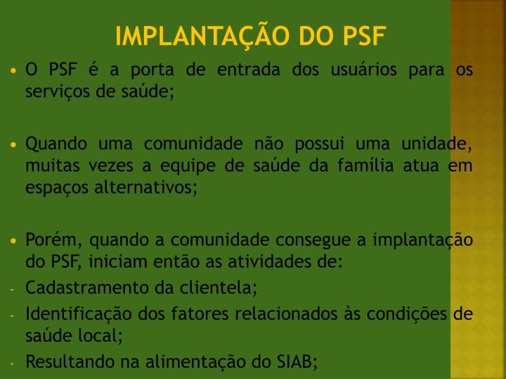 Implantação do PSF