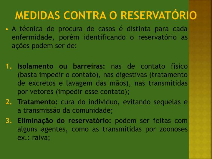 Medidas contra o reservatório