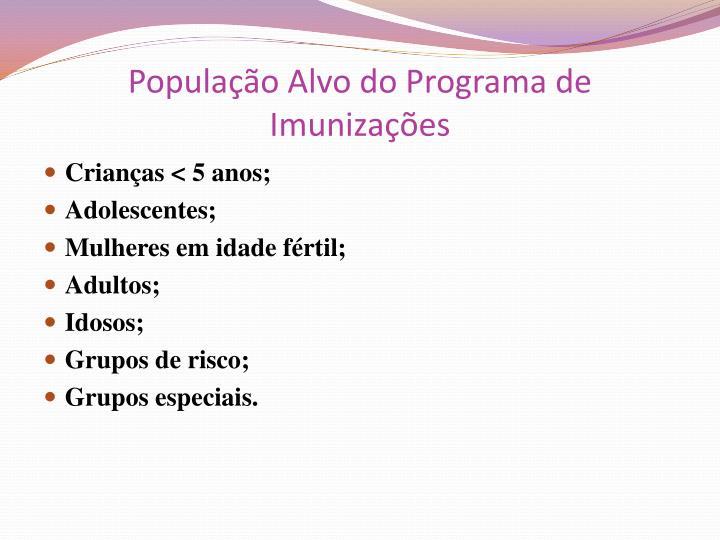 População Alvo do Programa de Imunizações