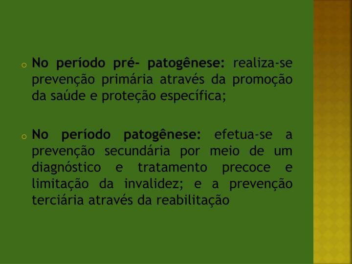 No período pré- patogênese: