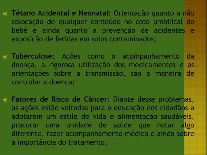 Tétano Acidental e Neonatal: