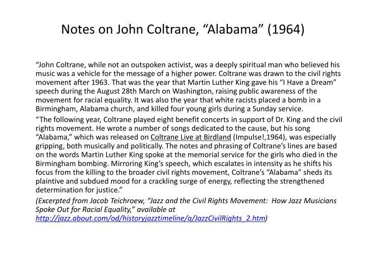 "Notes on John Coltrane, ""Alabama"" (1964)"
