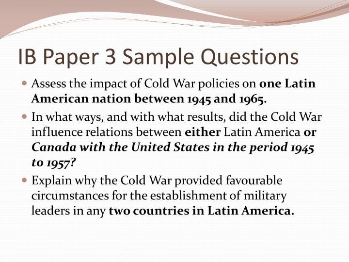 IB Paper 3 Sample Questions
