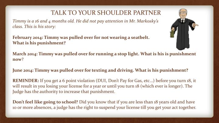 TALK TO YOUR SHOULDER PARTNER