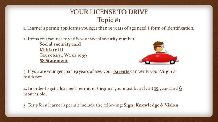 Your license to drive topic 1