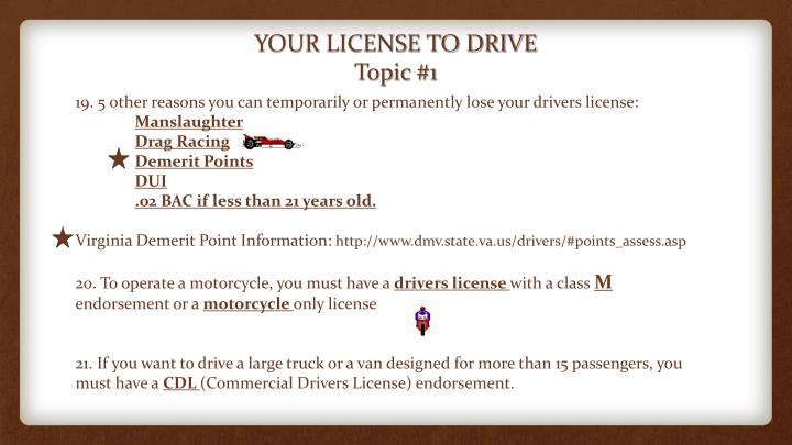 YOUR LICENSE TO DRIVE