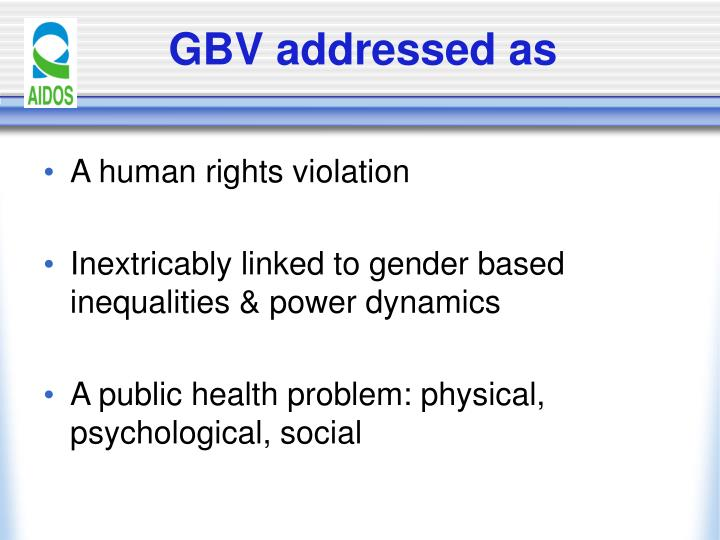 GBV addressed as
