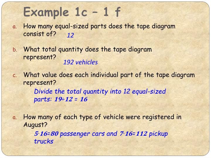 Example 1c – 1 f