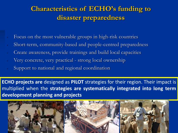 Characteristics of ECHO's funding to