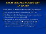 disaster preparedness in echo
