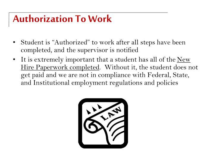 Authorization To Work