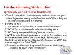 for the returning student hire previously worked in your department