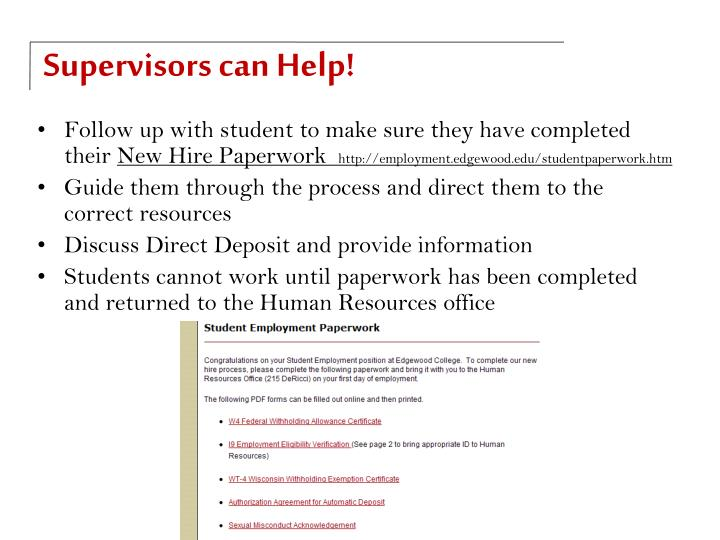 Supervisors can Help!
