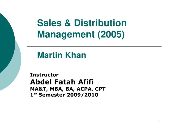Sales & Distribution Management (2005)