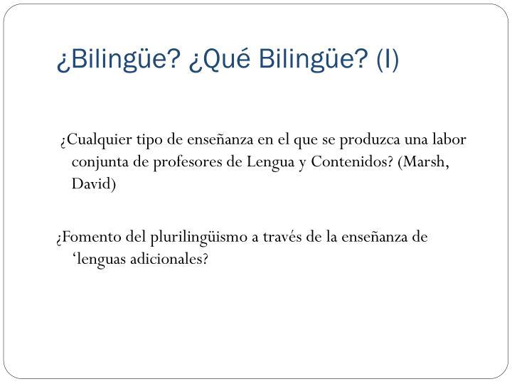 ¿Bilingüe? ¿Qué Bilingüe? (I)