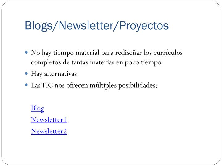 Blogs/Newsletter/Proyectos
