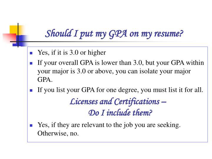 major gpa vs overall gpa resume