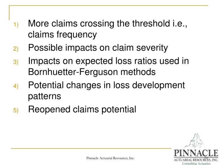 More claims crossing the threshold i.e., claims frequency