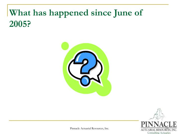 What has happened since June of 2005?