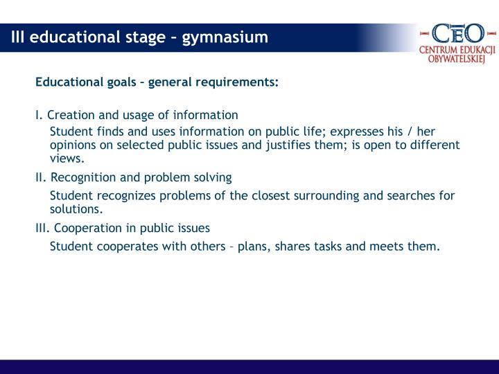 Educational goals – general requirements: