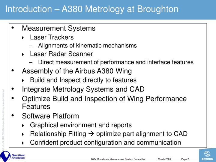 Introduction – A380 Metrology at Broughton