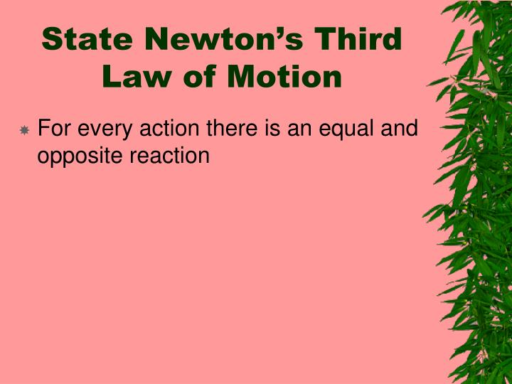 State Newton's Third Law of Motion