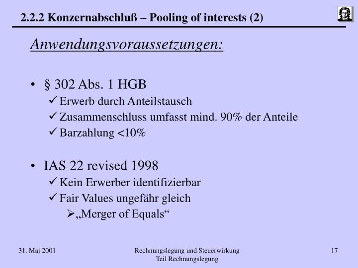 2.2.2 Konzernabschluß – Pooling of interests (2)