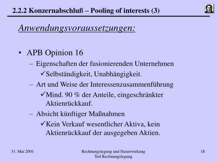 2.2.2 Konzernabschluß – Pooling of interests (3)