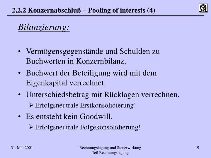 2.2.2 Konzernabschluß – Pooling of interests (4)