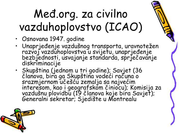 Međ.org. za civilno vazduhoplovstvo (ICAO)
