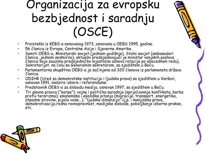 Organizacija za evropsku bezbjednost i saradnju (OSCE)