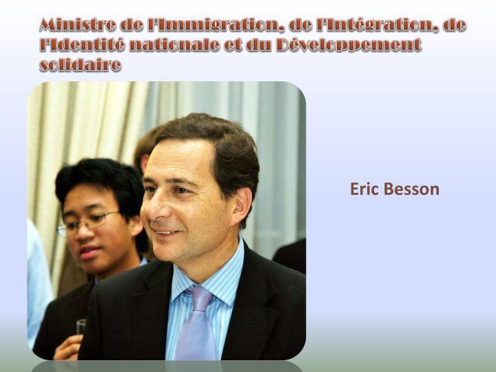 Ministre de l'Immigration, de l'Intégration, de l'Identité nationale et du Développement solidaire