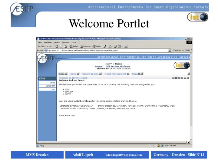 Welcome Portlet