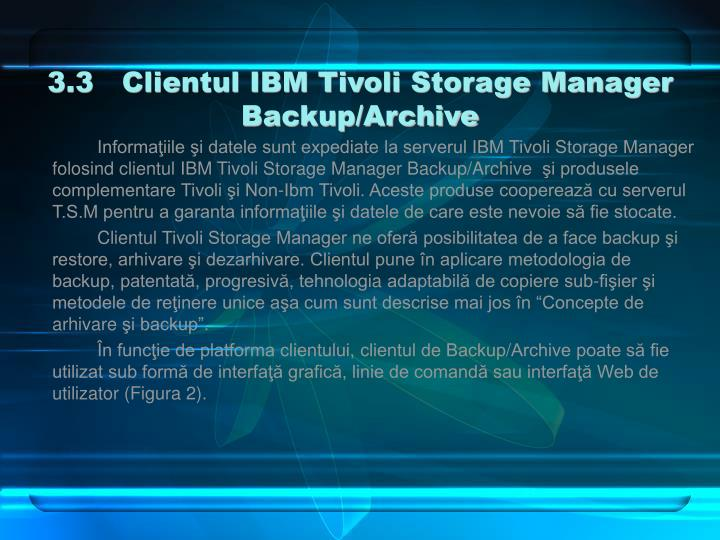 3.3   Clientul IBM Tivoli Storage Manager Backup/Archive